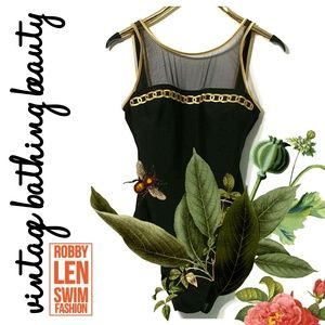 Robby Len Vintage Swimsuit Black Gold size 16 T